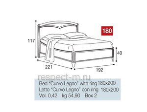 Кровать 180 Curvo Legno