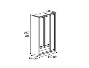 Шкаф 3х дверный с 2мя ящиками