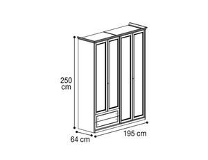 Шкаф 4х дверный с 2мя ящиками