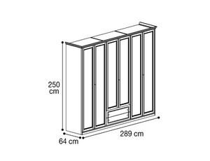 Шкаф 6х дверный с 2мя ящиками