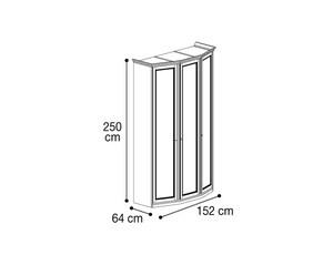 Шкаф 3х дверный со скосами с двух сторон