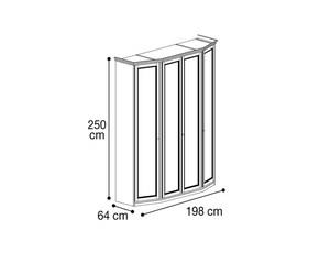 Шкаф 4х дверный со скосами с двух сторон