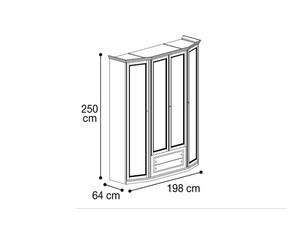 Шкаф 4х дверный со скосами с двух сторон и ящиками
