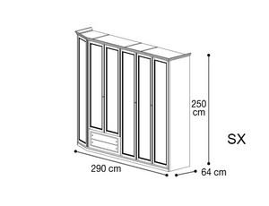 Шкаф 6 дверей со скосом с лева