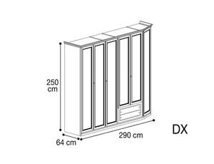 Шкаф 6 дверей со скосом с права