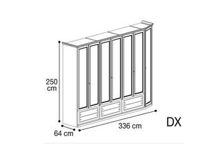 Шкаф 7 дверей со скосом с права