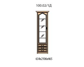 Витрина 1 дверь левая витраж стекло простое 3 ящика