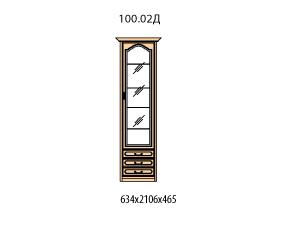 Витрина 1 дверь правая витраж стекло простое 3 ящика
