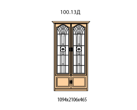 Витрина 2 двери витраж с рисунком