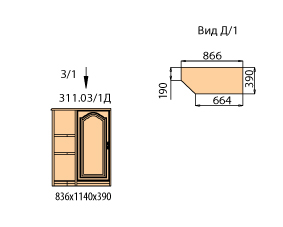 Тумба 1 дверь с полками со скосом ( окончание левое)
