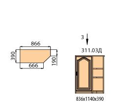 Тумба 1 дверь с полками со скосом ( окончание правое)