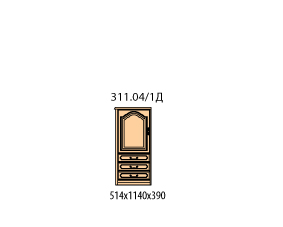 Тумба 1 дверь 3 ящика (боковина шпонированная с лева)(окончание)