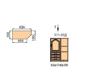 Тумба 1 дверь левая 3 ящика с полками со скосом ( окончание с права)