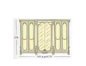 Платяной шкаф с 6-ю створками из которых 2 зеркальные и 4 декоративные