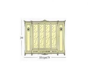 Платиной шкаф с 6-ю створками из которых 4 зеркальные и 2 декоративные 3 наружных ящика