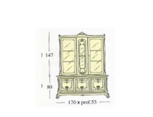Серват с 2-мя створками застекленными гравированным стеклом 3 деревянными створками 3-мя ящиками стеклянными и деревянными полками и встроенным баром