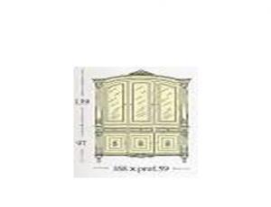 Сервант с 3-мя створками застекленными гравированным стеклом. Стеклянными и деревянными полками и встроенным баром