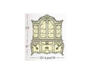 Сервант с 2-мя створками застекленными гравированным стеклом стеклянные и деревянные полки