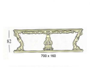 Прямоугольный стол с декоративной и стеклянной столешницей (основание с 6-ю ножками + 2-мя колоннами)