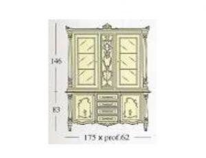 Сервант с 2-мя створками застекленными гравированным стеклом стеклянными и деревянными полками