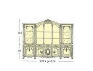 Книжный шкаф с 2-мя створками застекленными гравированным стеклом с деревянными полками