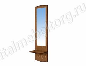 """Зеркало """"Шевалье - 5"""" (зеркало высокое с нижней полочкой и двумя декоративными крючками)"""