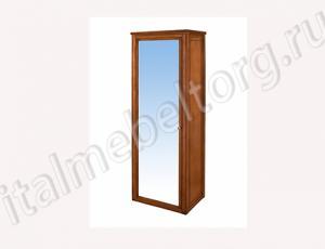 """Шкаф """"Классика-1/1"""" (одностворчатый с зеркалом двумя полками внутри и штангой для одежды.)без ножек левый."""