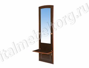 """Зеркало """"Парма - 6"""" (зеркало с двумя крючками по бокам и одной нижней полочкой)"""