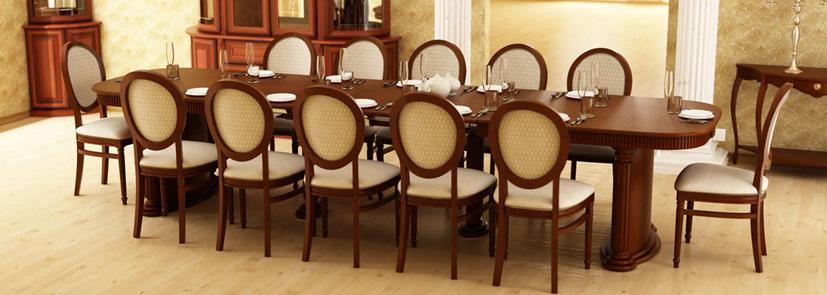 Большой обеденный стол для столовой на 12 человек