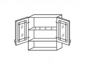 Шкаф двухстворчатый с нишей снизу (1 стекл. полка), фасад ви.