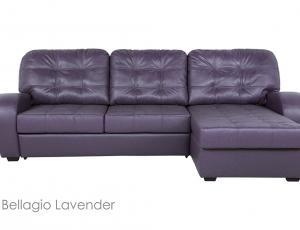 В КОЖЕ: Диван Монреаль 3-местный  кожа  Bellagio Lavender с механизмом трансформации Дельфин