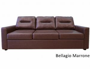 КОЖА 100%: Диван Беллино 3-местный, кожа Bellagio Marrone, с механизмом трансформации Дельфин