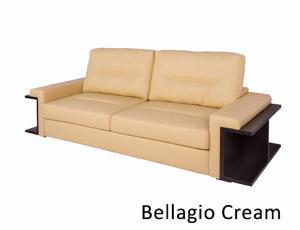 КОЖА 100%:: Диван Оксфорд 3-местный, кожа Bellagio Cream, с механизмом трансформации Дельфин