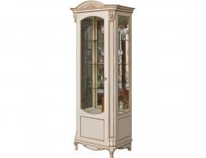 """Шкаф с витриной """"Альба 8"""" П 485.08-01 левая, цвет слоновая кость с серебряной патиной"""