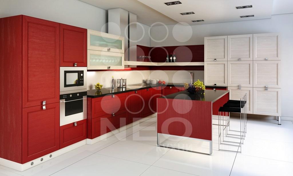 Кухня Квадро с крашенными фасадами по RAL, фабрика Нео