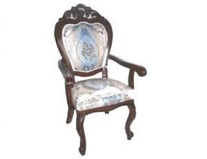 809 A. Кресло с мягкой спинкой и сидением обивка - ткань бежево-голубая (110х52х64 см)  цвет: Тёмная вишня (Brown)
