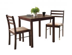 комплект 1 стол + 2 стула с мягким сиденьем цвет: Темный орех - стол прямоугольный 75х75 см